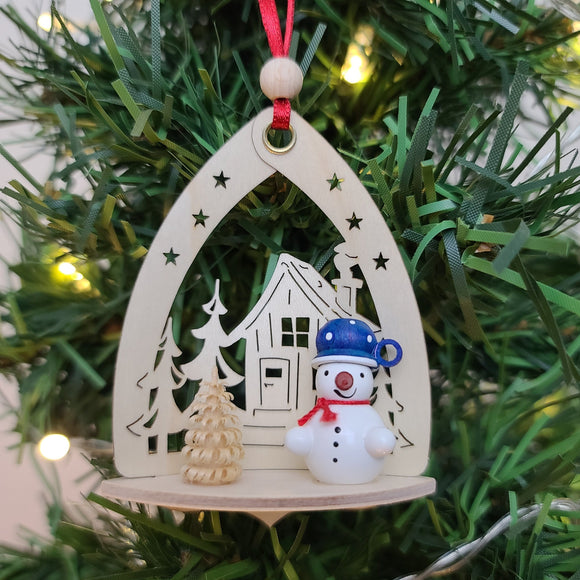 Ornament - Snowman with House, Blue Hat