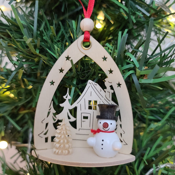 Ornament - Snowman with House, Black Hat
