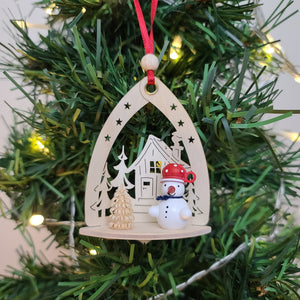 Ornament - Snowman with House, Red Hat