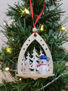 Ornament - Snowman in Forest Blue