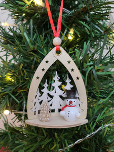 Ornament - Snowman in Forest Black