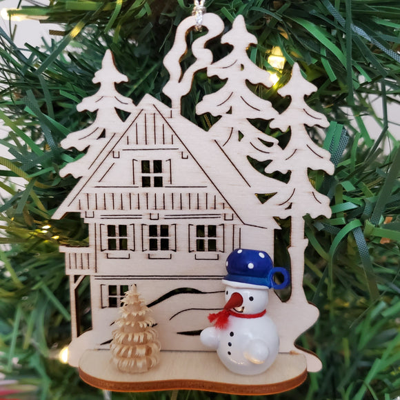 Ornament - Snowman in with Wilderness House, Blue Hat