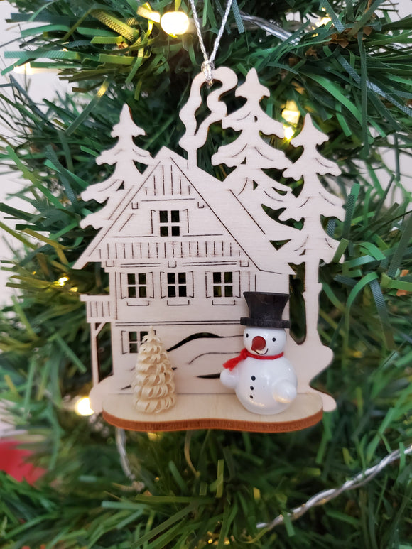 Ornament - Snowman in with Wilderness House, Black Hat