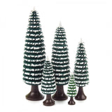 Trees - Coiled with Trunk, Green and White - Set of 5