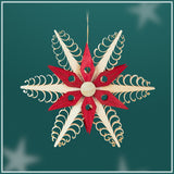 Ornament - Snowflake with Red Accent-6 point