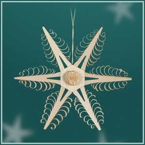 Ornament - 6 Point Flower Center Snowflake Ornament - 11 cm / 4.2 inch
