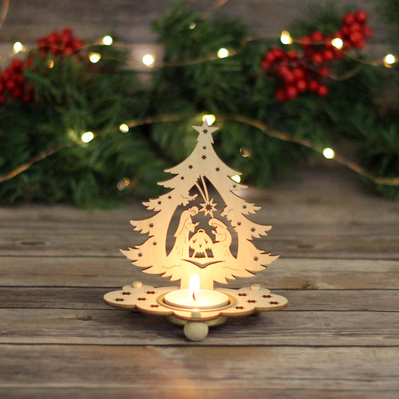 Tea Light Holder - Nativity in Tree