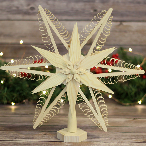 Tree Topper - Wood Chip Star Poinsettia
