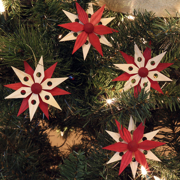Ornaments - 6 Point Poinsettia Set of 4