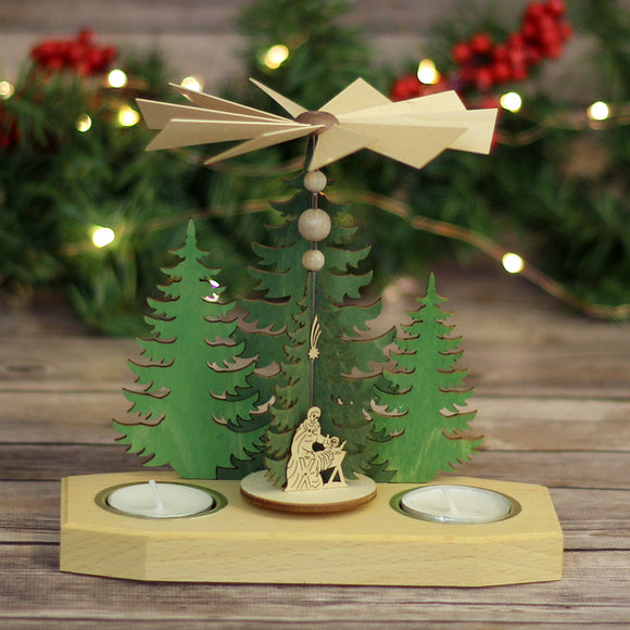 Spinning Table Top Tea Light Holder - Nativity