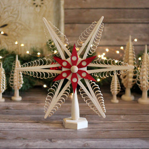 Tree Topper - Wood Chip Star Red Six Point Center