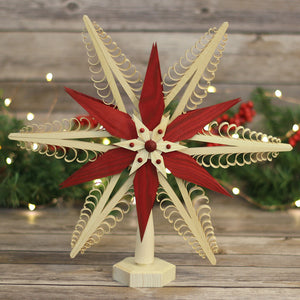 Tree Topper - Wood Chip Star Red Poinsettia