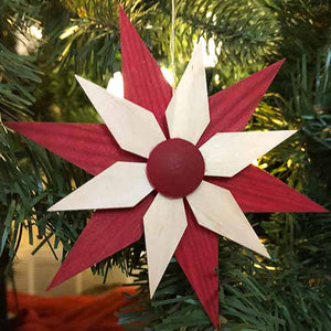 Ornament - Natural and Red Set of 5