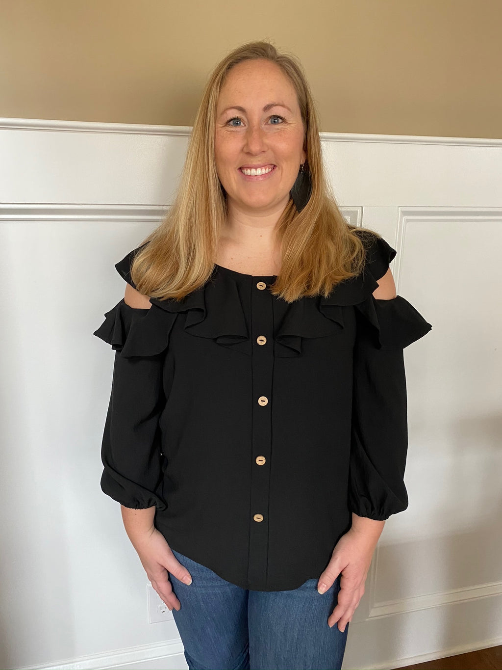 Solid Button-Down Blouse with Flounce Neckline
