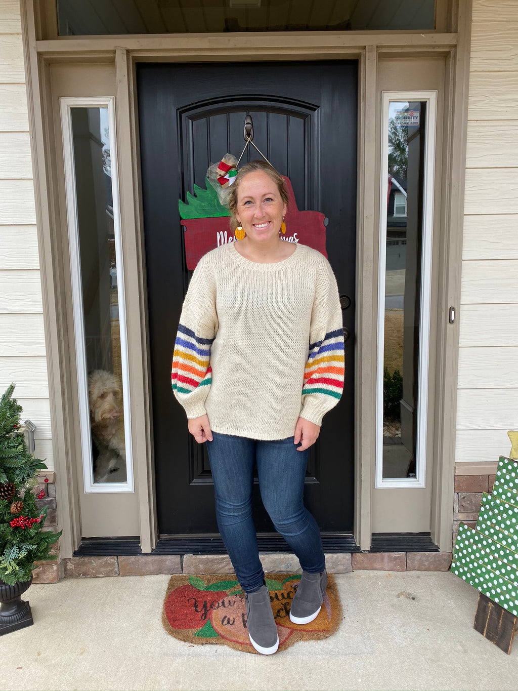 Rainbow Sleeved Sweater