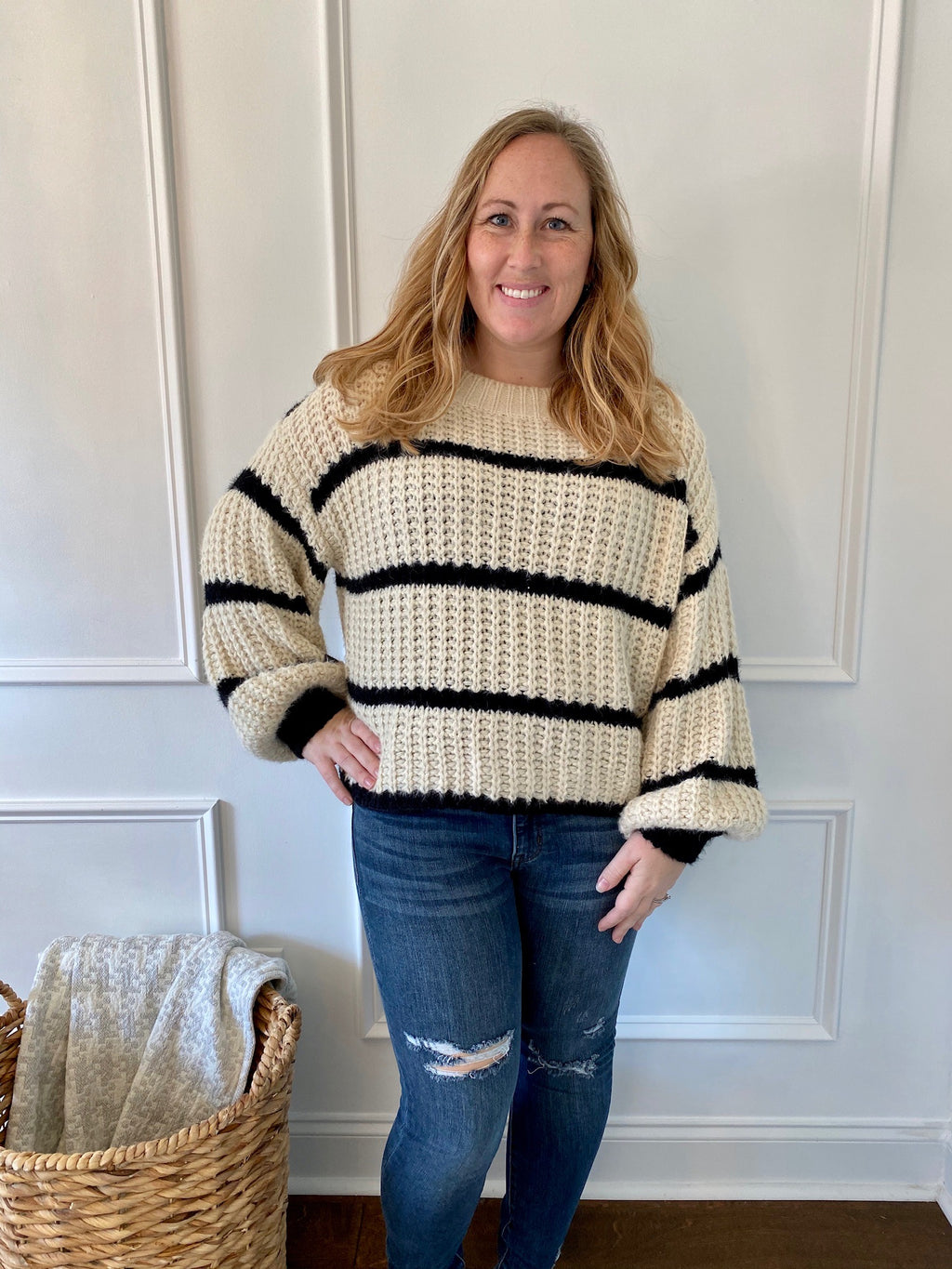 Cream & Black Sweater