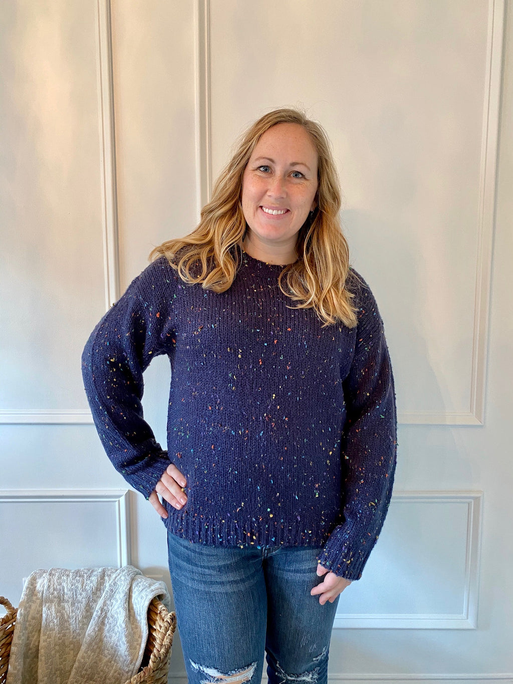 Navy Confetti Speckled Sweater