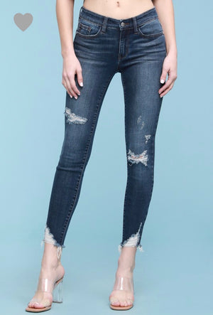 Destroyed Hem Cut-Off Skinny