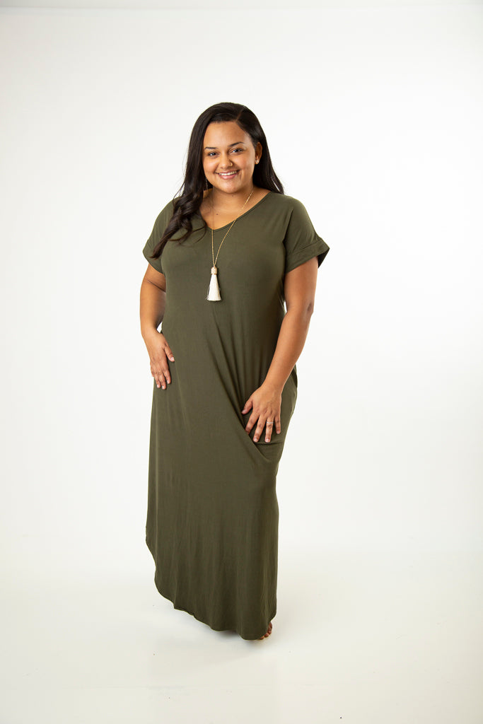 V-Neck Pocket Maxi