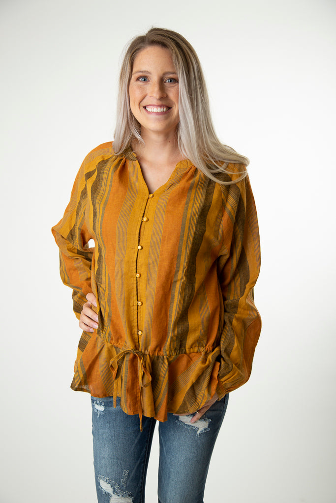 Peplum Button Down Blouse