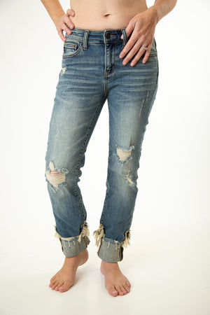 Cuffed Distressed Relaxed Denim