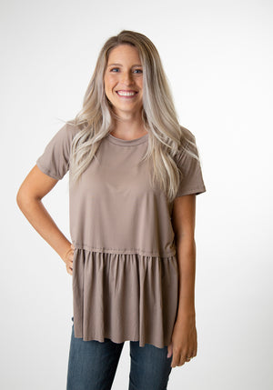 Mocha Peplum Top