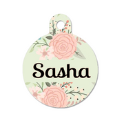 Light Green/Mint Floral Rose Gold Blush Pet ID Tag - Double Sided