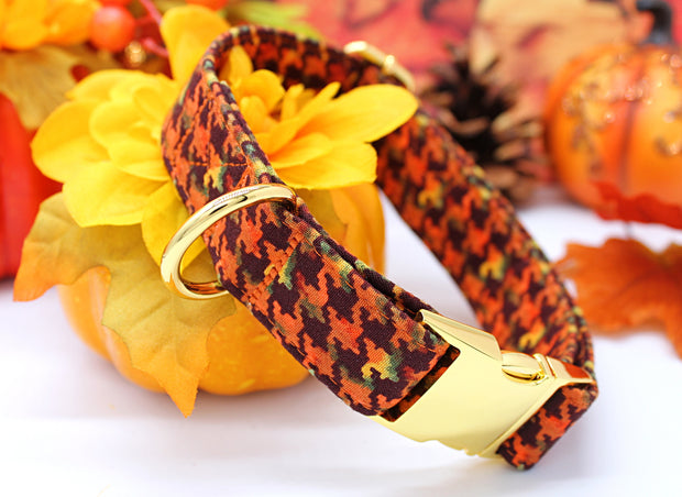 Autumn Dog Collar | Fall Houndstooth | FURBELOW Canine Designs