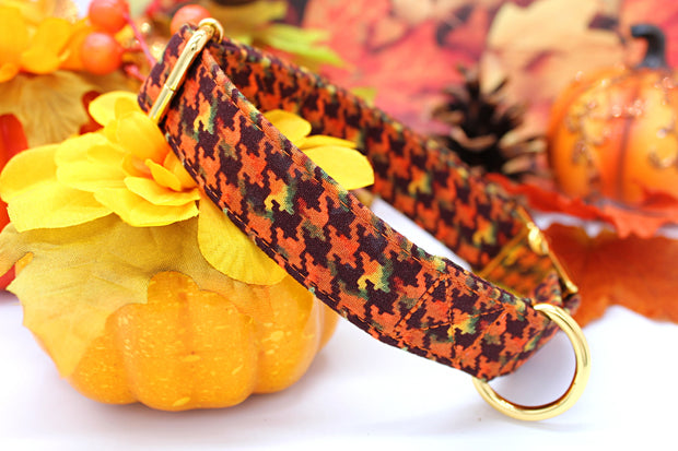 Autumn Dog Collar | Fall Houndstooth Pattern