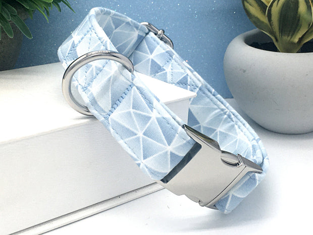 Light Blue Mosaic Print Dog Collar | FURBELOW Canine Designs