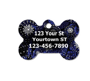 Silvery Snowflakes Blue Pet ID Tag - Double Sided