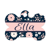 Blush Floral Navy Pet ID Tag - Double Sided