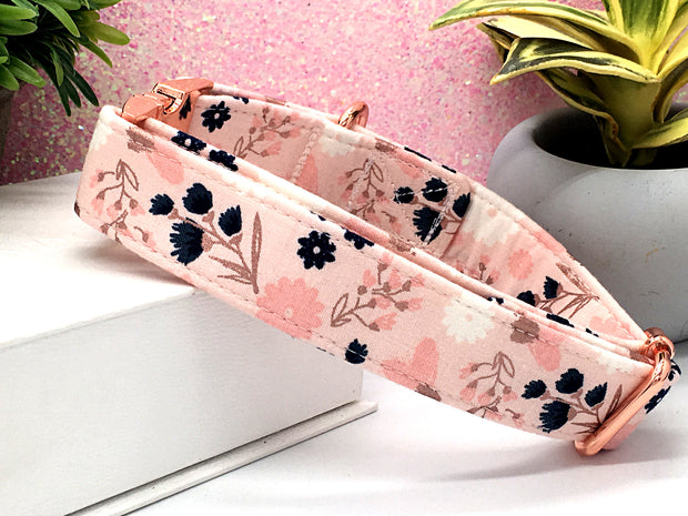 Blush Rose Gold Sparkle Pink Floral Designer Dog Collar