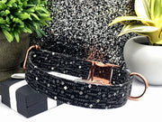 Charcoal Gray Diamond Print Designer Dog Collar