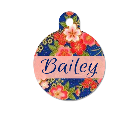 Blue & Pink Floral Pet ID Tag |  Metallic Gold Cherry Blossoms - Double Sided