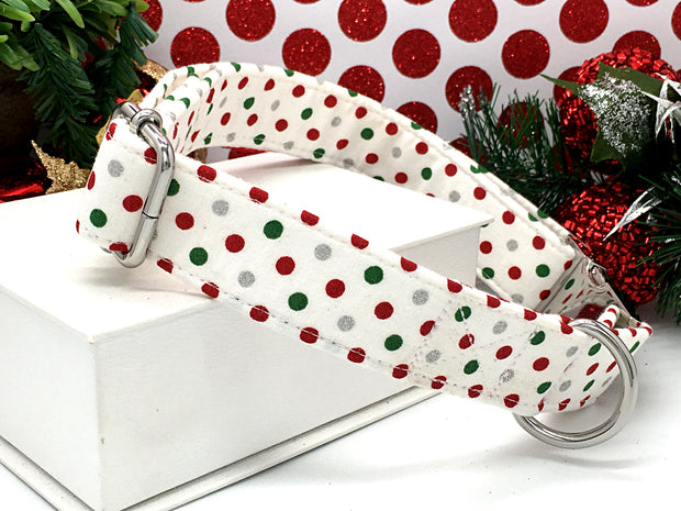 Christmas Designer Dog Collar | Glitter Polka Dots - White