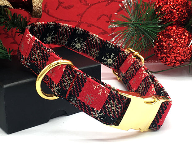 Glitter Snowflakes Red Plaid Christmas Designer Dog Collar