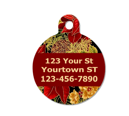 Christmas Poinsettias Floral Pet ID Tag - Double Sided