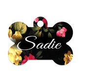 Cottage Roses Floral Pet ID Tag - Double Sided