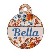 Floral Harvest Beige Autumn Pet ID Tag - Double Sided