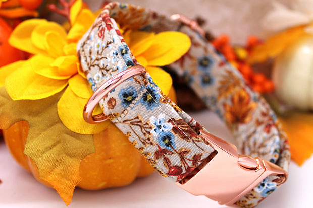 Autumn Dog Collar | Floral Harvest Beige | FURBELOW Canine Designs