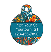 Floral Harvest Teal Autumn Pet ID Tag - Double Sided