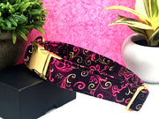 Fuschia & Metallic Gold Swirl Designer Dog Collar