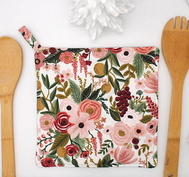 Potholder, Garden Party Rose, Double Insulated