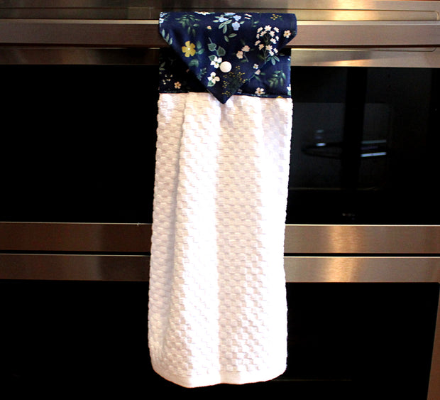 Hanging Kitchen Towel, Hawthorne Navy Blue
