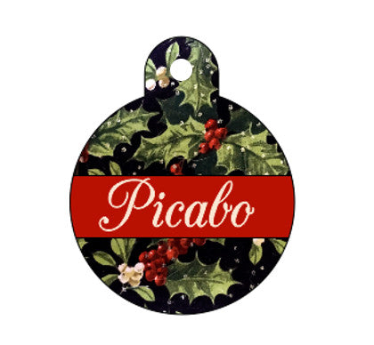Christmas Holly -Red & Gold- Pet ID Tag - Double Sided