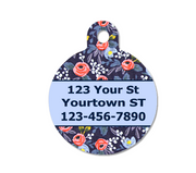 Navy Floral Pet ID Tag | Menagerie Rosa Navy - Double Sided