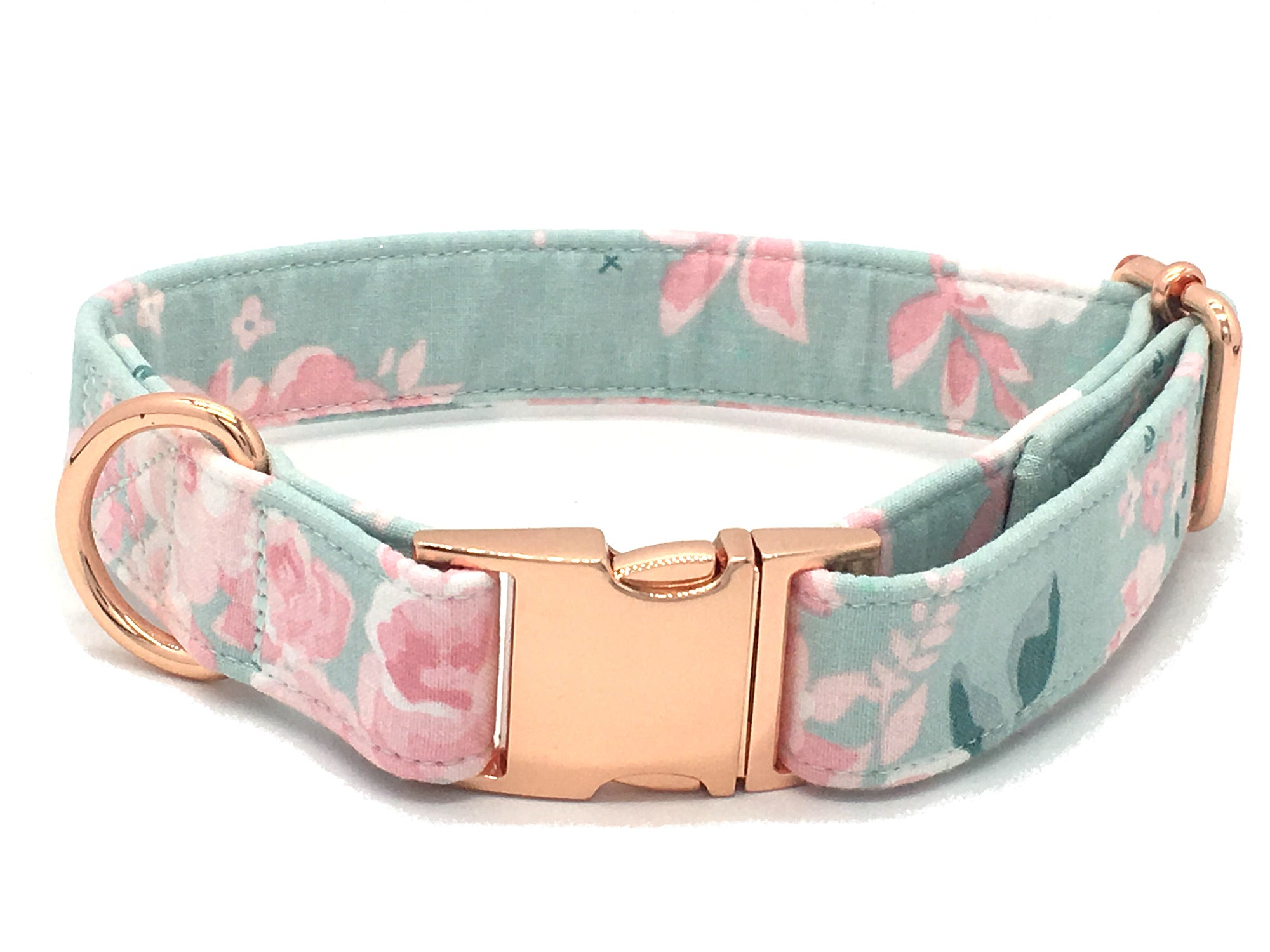 Mint Pink Flowers Floral Fabric Dog Collar Cotton Fashion