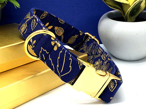 Navy & Gold Metallic Designer Dog Collar | Les Fleurs Queen Anne