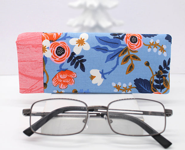 Eyeglass or Sunglasses Case, Primavera Birch Periwinkle - Soft & Padded